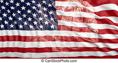United States of America flag and faded soldier in uniform. 3d illustration