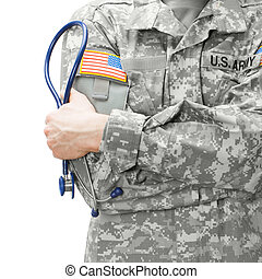 US Army doctor holding stethoscope next to his shoulder -...