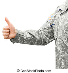 US Army doctor showing thumb up - studio shot - US Army...