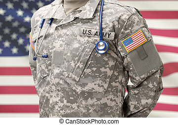 US Army doctor with stethoscope over his neck and USA flag on background