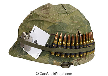 Us Army Helmet Vietnam War Period With Camouflage Cover And Ammo Belt Dog Tag And Amulet Ace Of Clubs Playing Card