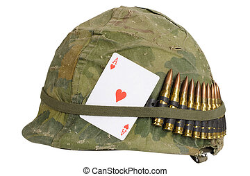 Us Army Helmet Vietnam War Period With Camouflage Cover And Ammo Belt Dog Tag And Amulet Ace Of Hearts Playing Card Us Army