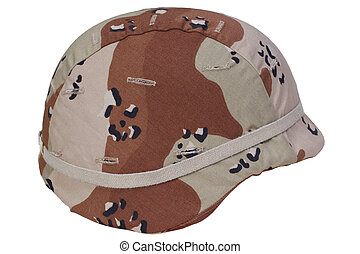 us army helmet with a desert camouflage cover