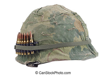 US Army helmet with camouflage cover and ammo belt - Vietnam...