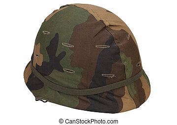US Army helmet with woodland pattern camouflage cover