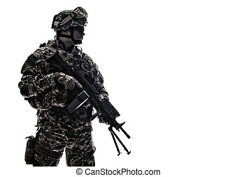 US Army Marines Corps shooter with machine gun
