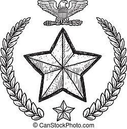 US Army military insignia - Doodle style military rank...