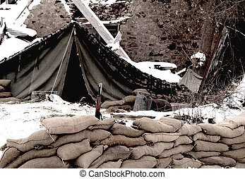 US Army mobile camp - WWII US Army mobile camp in a winter...