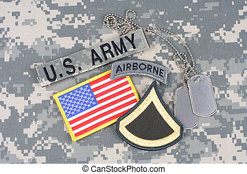 US ARMY Private First Class rank patch, airborne tab, flag ...