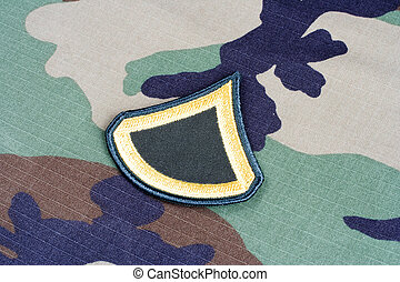 US ARMY Private First Class rank patch on woodland ...