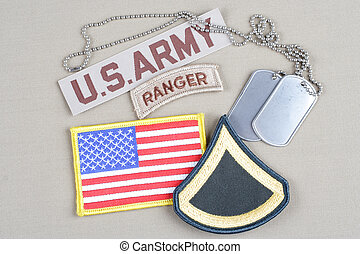 US ARMY Private First Class rank patch, ranger tab, flag ...