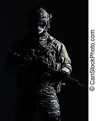 US Army Ranger close-up - Elite member of US Army rangers in...