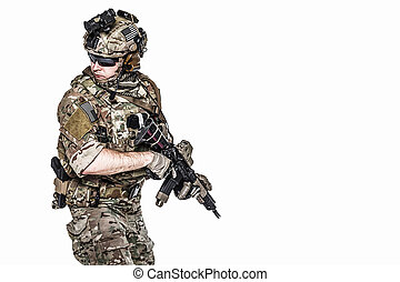 US Army Ranger with weapon - Elite member of US Army rangers...