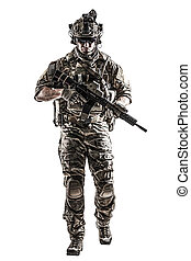 US Army Ranger with weapon - US Army rangers in combat...