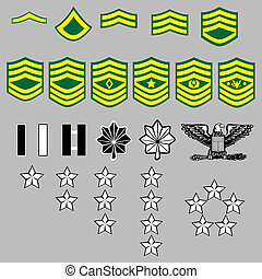 US Army rank insignia for officers and enlisted in vector format