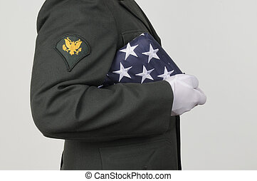 Us Army Soldier Honor - Us Army soldier holding USA flag