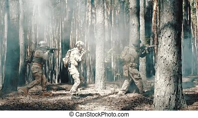 US Army soldiers patrol in a smoky forest.