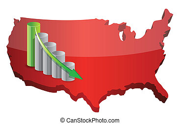 US Business fail graph illustration design over white