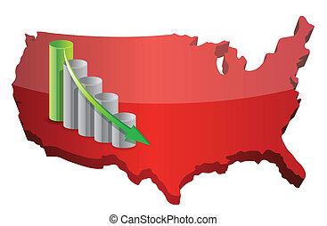 US Business fail graph illustration design over white