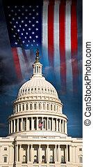US Capital and flag waving.