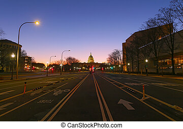 US capital at dawn, Washington DC.