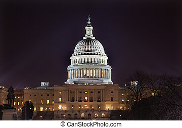 US Capital Night Washington DC - US Capital Congress House...