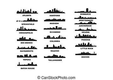 US Capitals Vector Illustration