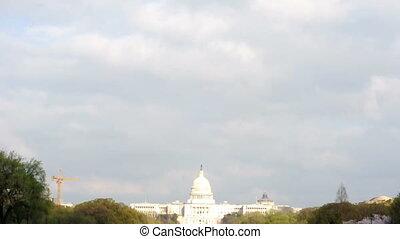 US Capitol Building Under Clouds