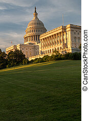 US Capitol Building with an Orange tint from sunset