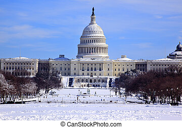 US Capitol Dome Houses of Congress After Snow Washington DC...