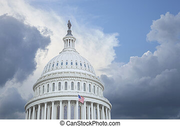 US Capitol dome under stormy skies