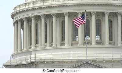 US Capitol flag - The US Capitol dome with the US flag...