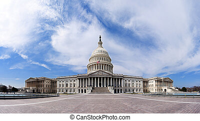 US Capitol - Government building - Wide angle panorama of...