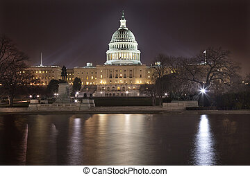 US Capitol Night Reflection Washington DC - US Capitol Night...