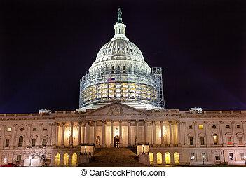 US Capitol Noth rSide Construction Night Stars Washington DC