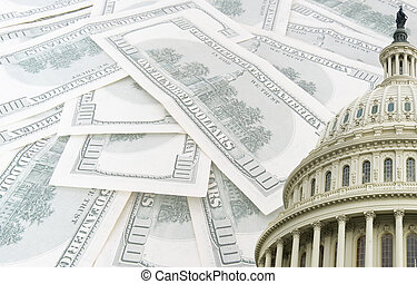 us capitol on 100 us dollars banknotes background