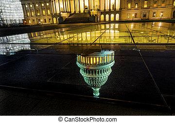 US Capitol Reflection North Side Night Stars Washington DC