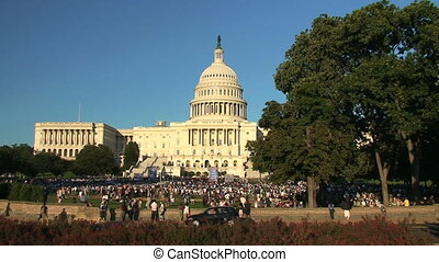 US Capitol, time lapse - Rally at US Capitol Building,...