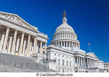 US Capitol, Washington DC - US Capitol over blue sky,...