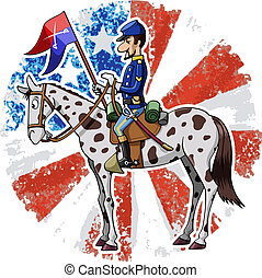 Cartoon-style illustration: United States Cavalry soldier riding his horse. American grunge flag on the background