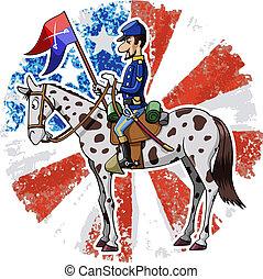 US Cavalry - Cartoon-style illustration: United States...