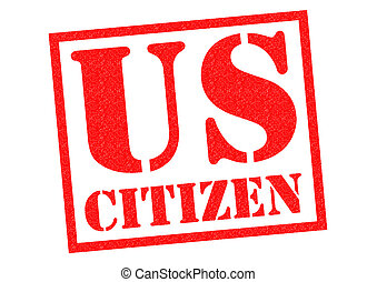 US CITIZEN red Rubber Stamp over a white background.
