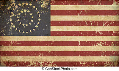 US Civil War Union -37 Star Medalion- Flag Flat - Aged -...