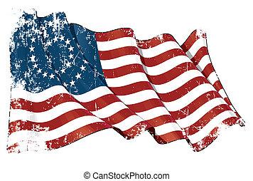 US Civil War Union -37 Star Medallion- Scratched Flag - ...