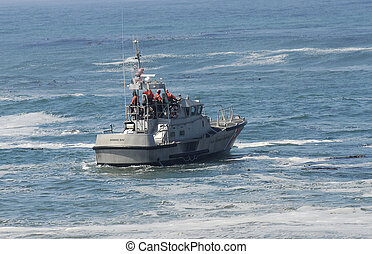 US Coast Guard boat in rescue operation