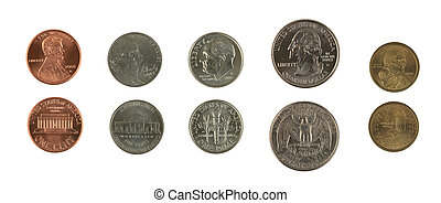 A photo of some US coins set against a white background.