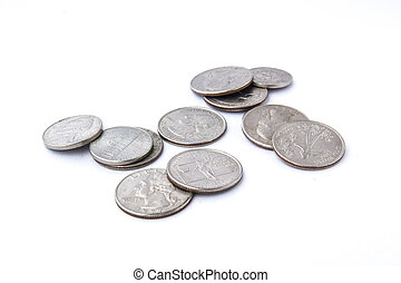 US coins on a isolated white background