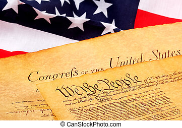 Constitution - US Constitution and American Flag