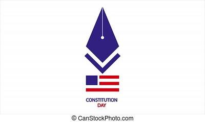 US Constitution Day pen, art video illustration.