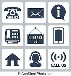 us', 'contact, ベクトル, セット, アイコン